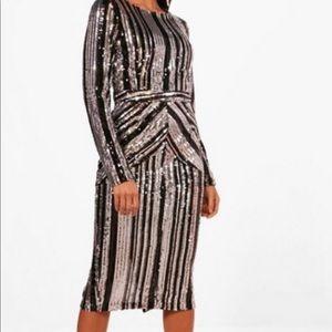 NWT Sequin Striped Midi Dress
